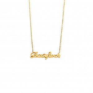 Women's Necklace Named Vasiliki from Steel in Color Yellow Gold AJ (KO.0029X)