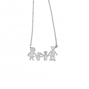 Silver 925-Flatfied Women's Necklace Family MAMA-BABAS-AGORI-KORITSI in Silver Color AJ (KAO.0061A)