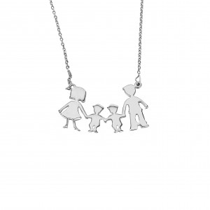 Silver 925-Flattened Necklace Women's Family BABAS-MAMA-PURCHASE in Color Silver AJ (KO0062A)