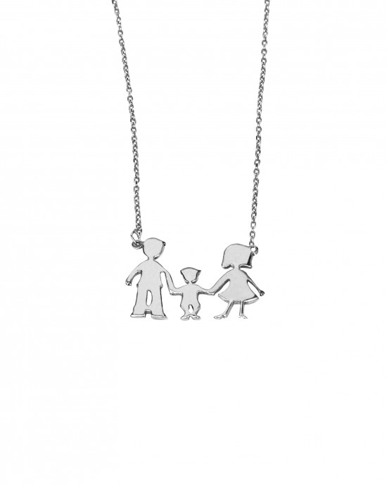 Silver 925-Flattened Necklace Women's Family BABAS-MAMA-BOY in Silver Color AJ (KO0063A)