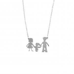 Silver 925 Women's Necklace Family Daddy Mom Girl AJ (KO.0065)