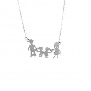 Silver 925 Women's Necklace Family Daddy Mom Girl-GirlAJ (KO.0066)