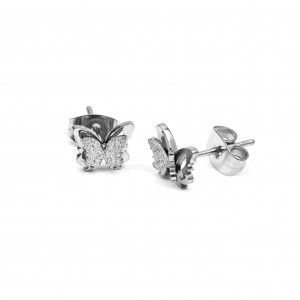 Women's Butterfly Earrings from Surgical Steel in Silver Color AJ (SKK0029A)