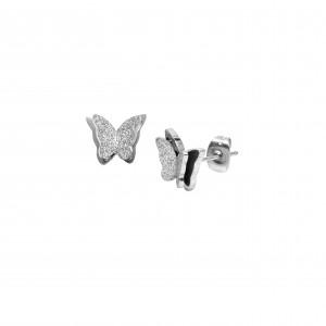 Women's Butterfly Earrings from Surgical Steel in Silver Color AJ (SKK0029A)