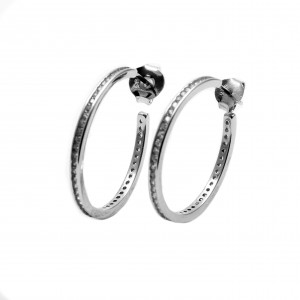 925 Sterling Silver Earrings with Zircon Ring in Silver Color AJ (SKA0008A)