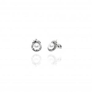 Silver 925- Earring with Pearl in Silver AJ (SKA0009A)