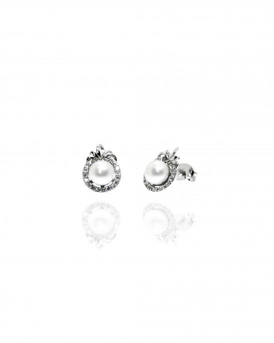 Silver 925- Earring with Pearl in Silver AJ (SKA0009A)
