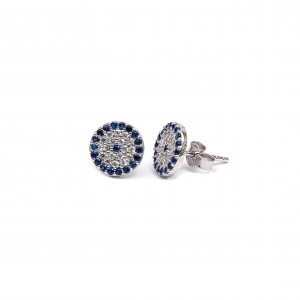 Silver 925 Earrings-platinum Feminine studs with Eye with Zircon stones in Silver AJ (SKA0010A)