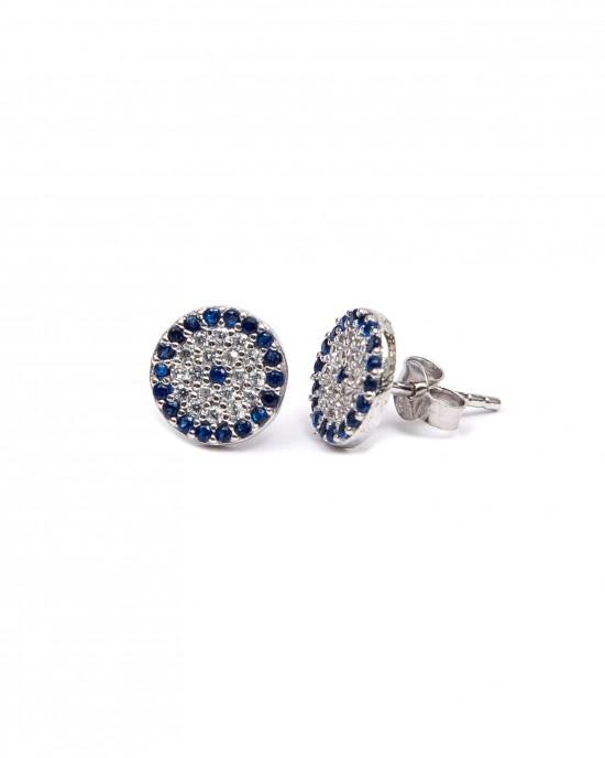 Silver 925 Earrings-platinum Feminine studs with Eye with Zircon stones in Silver AJ (SKA0010A)