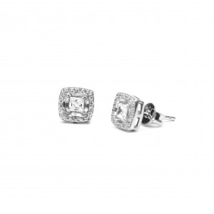 Silver 925 Earrings with platinum plated Women with zircon stones in Silver AJ (SKA0012A)