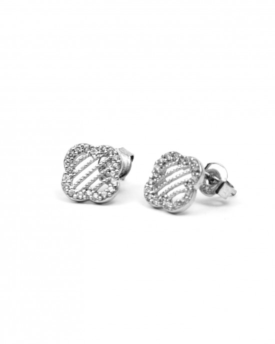 Silver 925 Earrings with platinum plated Women with zircon stones in Silver AJ (SKA0013A)