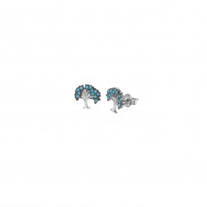 Silver 925 Earrings Women in Color Silver Living Tree with Stones AJ (SKA0018A)