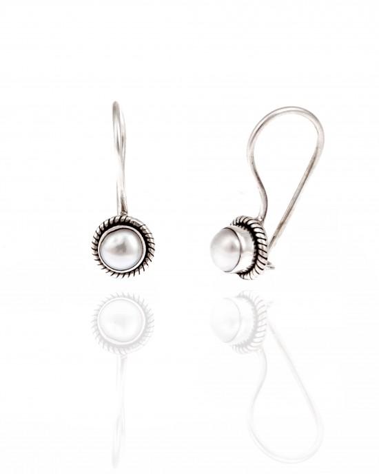 Silver-925 Earrings Women with Pearl in Silver AJ (SKA0051A)