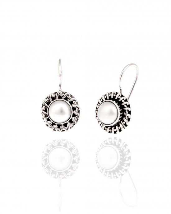 Silver-925 Earrings Women with Pearl in Silver AJ (SKA0052A)