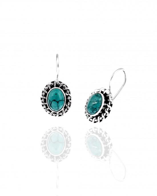 Silver-925 Earrings Women with Aqua Marina in Silver AJ (SKA0053A)