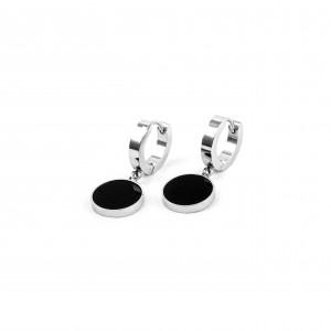 Stainless Steel Earrings for Women in Silver Black with Black Stone AJ(SKK0001A)