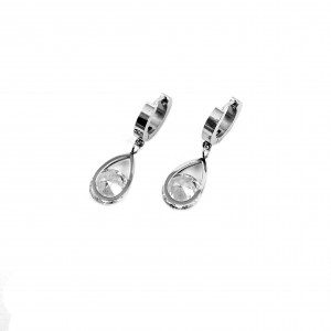 Women's Stainless Steel Earrings Hanging With Zircon Stone