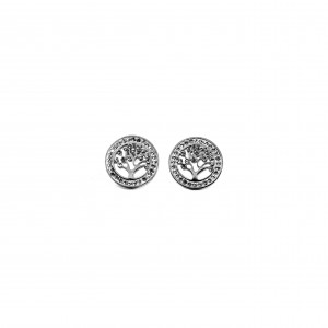 Steel female tree earrings with zircon stones