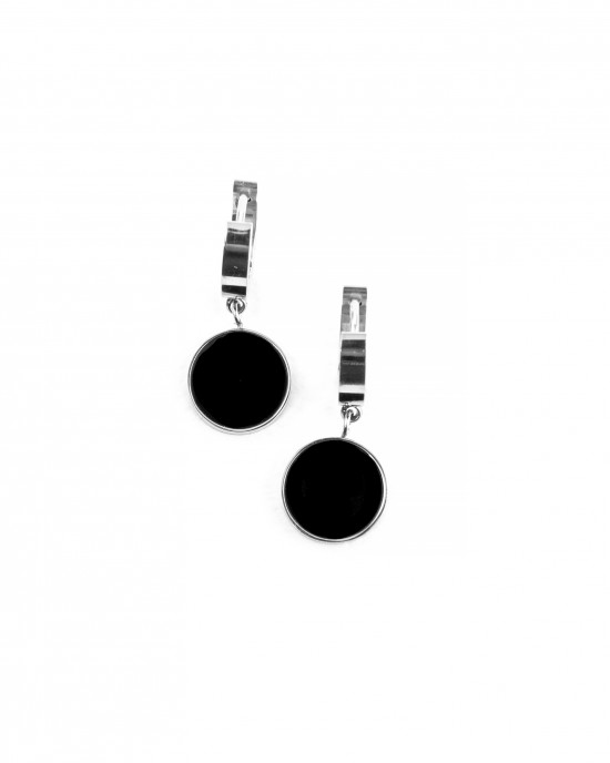 Stainless Steel Earrings for Women in Silver Black with Black Stone AJ(SKK0001A)