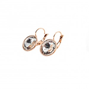 Women's pendant earrings made of surgical steel in pink gold color AJ(SKK0012RX)