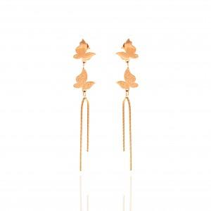 Women's Butterfly Earrings Made of Steel in Pink Gold AJ (SKK0012RX)