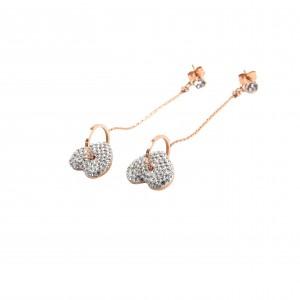 Women's Heart Pendant Earrings in Pink Gold with Zircon AJ (SKK0013RX)