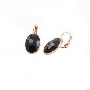WOMEN EARRINGS IN PINK GOLD STAINLESS STEEL WITH Semi-precious BLACK STONE AJ(S.K.K0015)