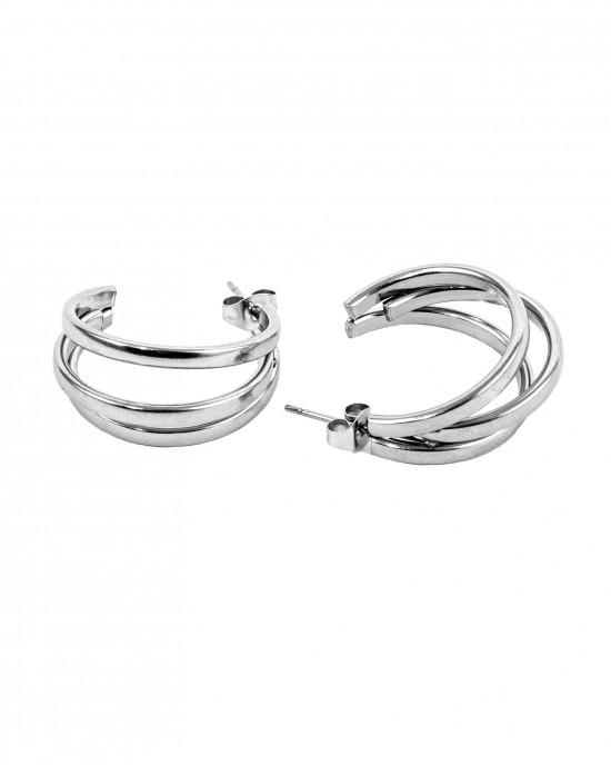 Stainless Steel Earrings with Sterling Silver Earrings AJ(SKK0015A)