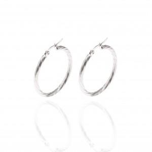 women's Stainless Steel earrings with silver color AJ(SKK0025A)