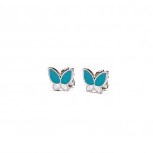 Women's-Children's Butterfly Steel Earrings in Silver AJ Color (SKK0027)