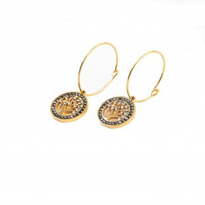Stainless steel female tree earrings in gold color AJ(SKK002X)