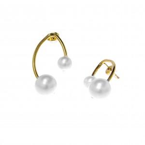 Handmade Women's Steel Earrings with Pearls in Gold AJ (SKK0035X)