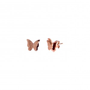 Women's Earrings Steel Butterflies in Pink Gold AJ (SKK0037RX)