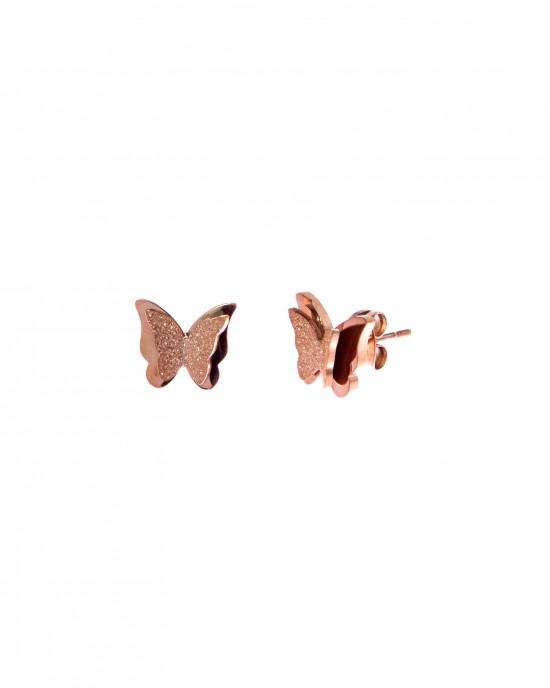 Women's Earrings Steel Butterflies in Pink Gold AJ (SKK0037RX)