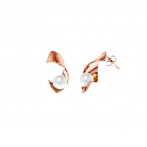 Steel Pearl Earrings in Pink Gold AJ (SKK0041RX)