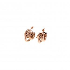 Earrings-Triple Rings with Steel in Rose Gold AJ (SKK0043RX)