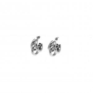 Earrings-Steel Earrings in Silver AJ (SKK0051A)
