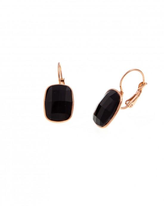 Earrings with Steel Stone in Pink Gold AJ (SKK0055RX)