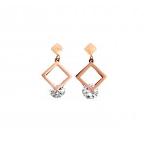 Earrings-Pendants with Steel Stone in Pink Gold AJ (SKK0058RX)