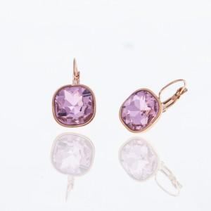Earrings-Pendants with Steel Stone in Pink Gold AJ (SKK0060RX)