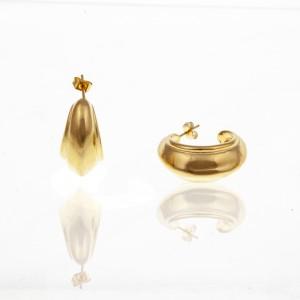Earrings-Steel Earrings in Gold AJ (SKK0061X)