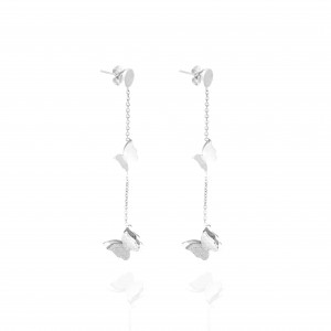 Earrings-Women in Butterfly Steel in S;ilver AJ (SKK0073A)