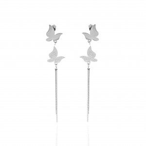 Earrings-Women in Butterfly Steel in S;ilver AJ (SKK0073A)