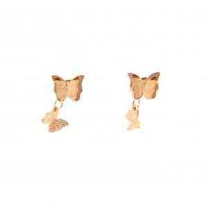 Earrings-Women in Butterfly Steel in Pink Gold AJ (SKK0073RX)