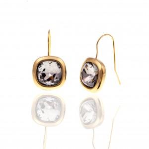 Earrings with Steel Stones in Yellow Gold AJ (SKK0077X)