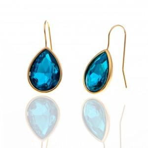 Earrings with Steel Stone in Yellow Gold AJ (SKK0086X)