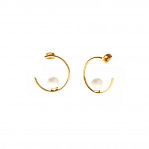 Earrings Steel Rings in Yellow Gold with Pearls AJ (SKK0087X)