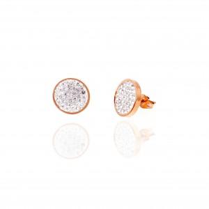 Women's Steel Earrings in Pink Gold with Stones AJ (SKK0091RX)