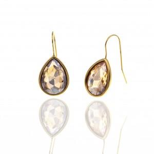 Earrings-Pendant with Steel Stone in Yellow Gold AJ (SKK0098X)
