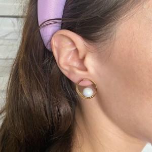 Women's Earrings Handmade with Steel Pearls in Yellow Gold AJ (SKK0031X)